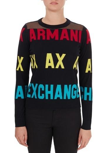 Armani Exchange  % 100 Pamuklu Baskılı Bisiklet Yaka Kazak Kadın Kazak 6Hym1F Ymd4Z 1200 Siyah